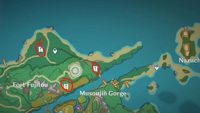 Map of Inzauma in Genshin Impact with the mark location for the Pharmacist's notebooks.