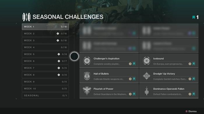 """""""In moving away from weekly bounties, which were restricted to broad objectives tied to ritual activities, we have taken more leeway with creating some interesting or more difficult Challenges."""" - Bungie"""