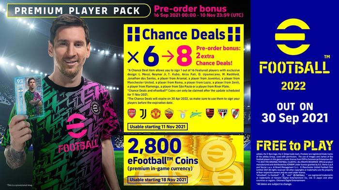 efootball 2022 pre order pack bonuses