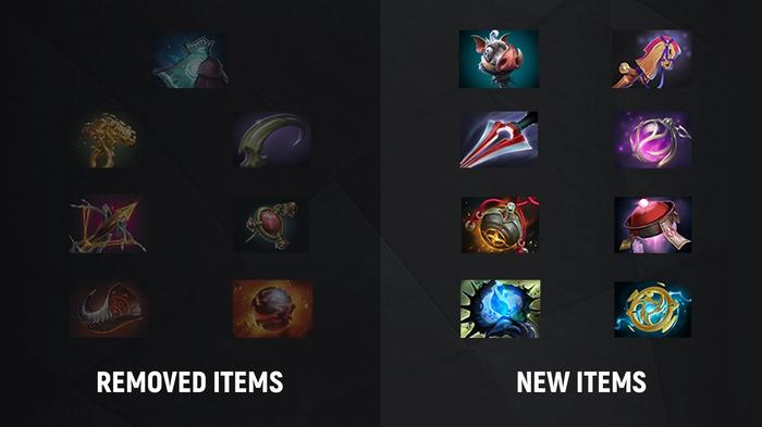 Image with items leaving the game and new neutral items in DOTA 2.