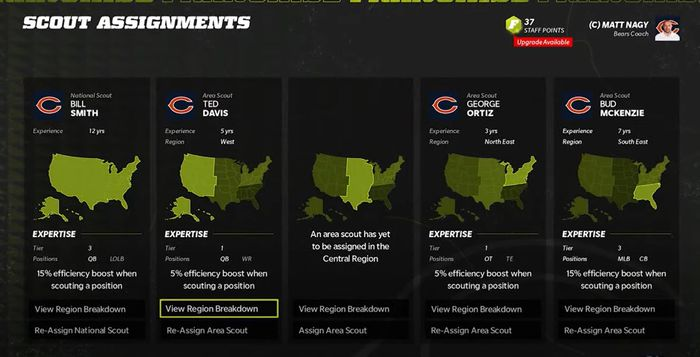 The Scouting screen in Franchise Mode of Madden 22