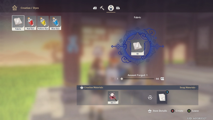 Gethin Impact Crafting screen
