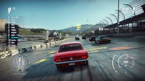 1965 Ford Mustang races around oval racetrack in NFS Heat
