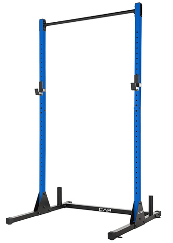 Best squat rack Cap Barbell product image of a blue half cage with pull-up bar