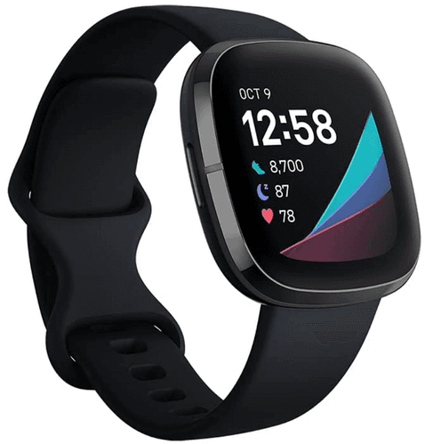 Best Fitbit Sense product image of a black smartwatch with time, steps, sleep, and heart-rate displayed