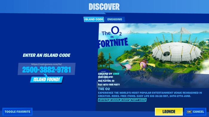 fortnite O2 island code