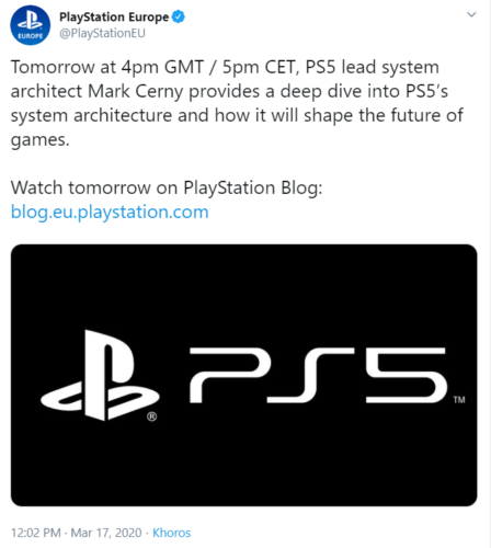 ps5 tweet with info about a blog video