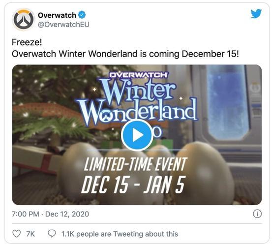 Overwatch winter wonderland 2020 tweet