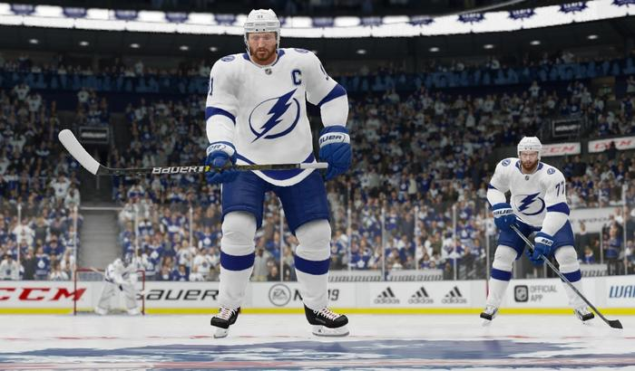 Tampa Bay Lightning players line up and prepare for a puck drop