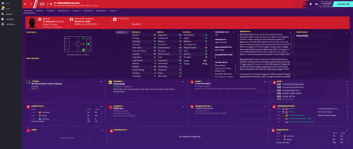 Salah's starting Football Manager 2020 attributes and information.