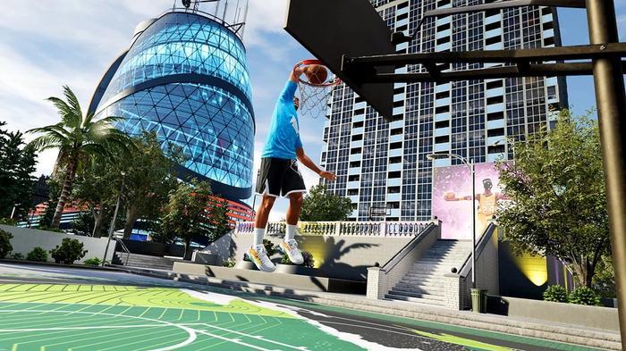 NBA 2K22 dunk the city park court