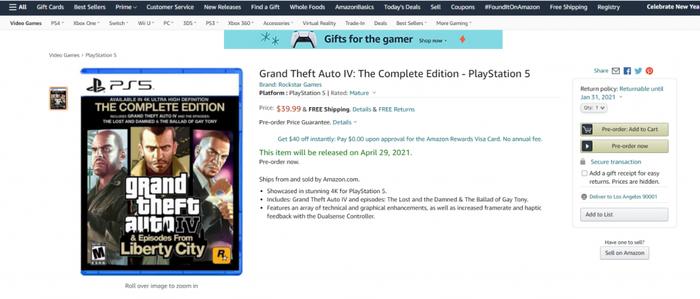 Grand Theft Auto Remasters GTA 4 PS5