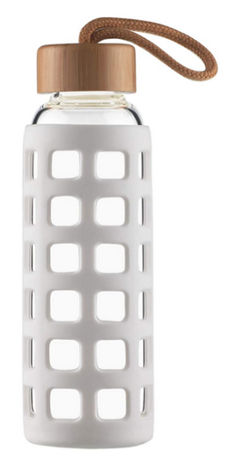 Best Water Bottle Cleesmill product image of a glass bottle surrounded by a silicone sleeve for protection