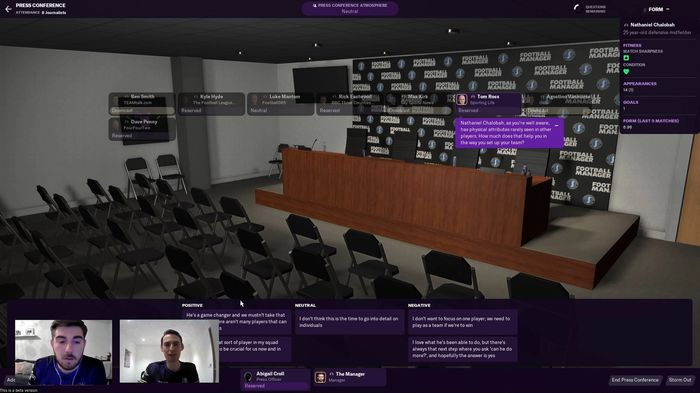 Football Manager 2021 Press Conference