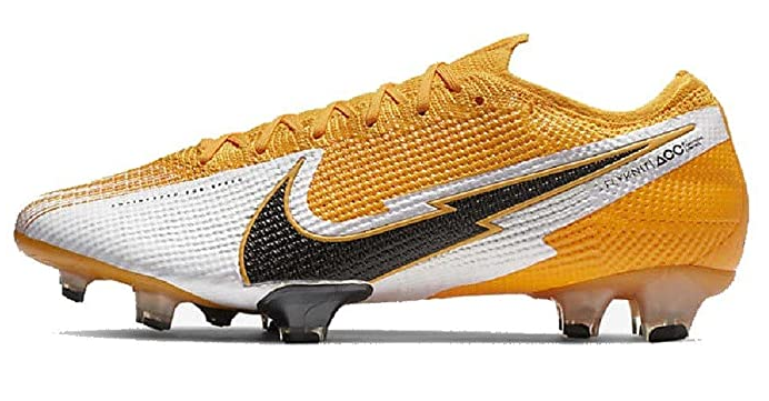 Best football boots Nike Mercurial product image of an orange and silver boot