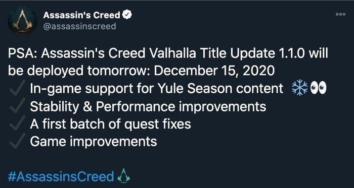 assassins creed valhalla update 1.1.0