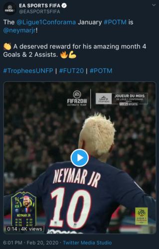 neymar wins potm january fifa 20