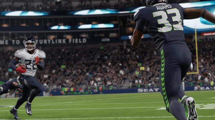 Derrick Henry prepares to make his move on Jamal Adams in Madden 22