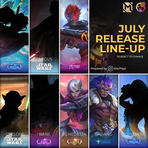Mobile Legends Skins July 2021 Roadmap