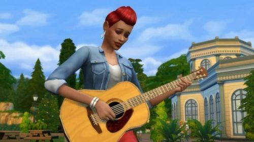 The Sims 4 Acoustic Guitar player