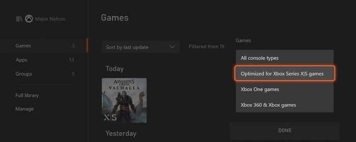 xbox series x dashboard filter reveal