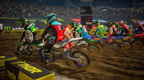 Wheel-to-wheel action in Monster Energy Supercross 3