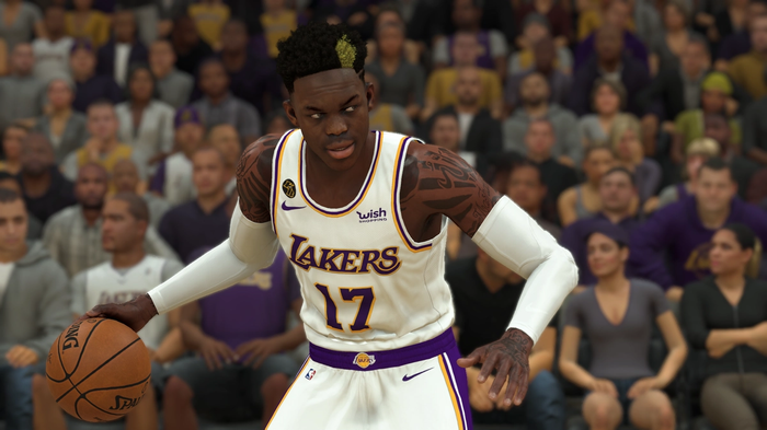 Lakers guard Dennis Schroeder handles the ball in NBA 2K22.