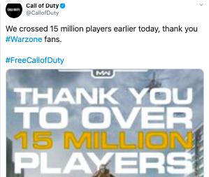 thank you warzone 15million