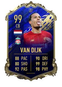 Virgil van Dijk's 99 OVR TOTY card