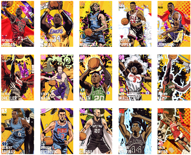 NBA 2K21 MyTEAM Golden Age Collection Cards