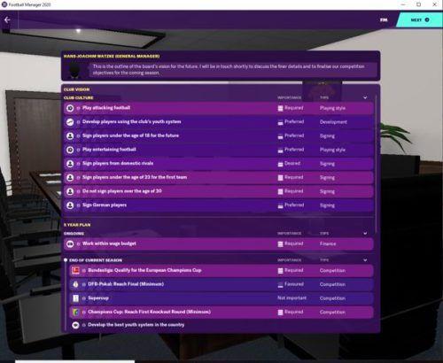 Borussia Dortmund's starting FM20 club vision