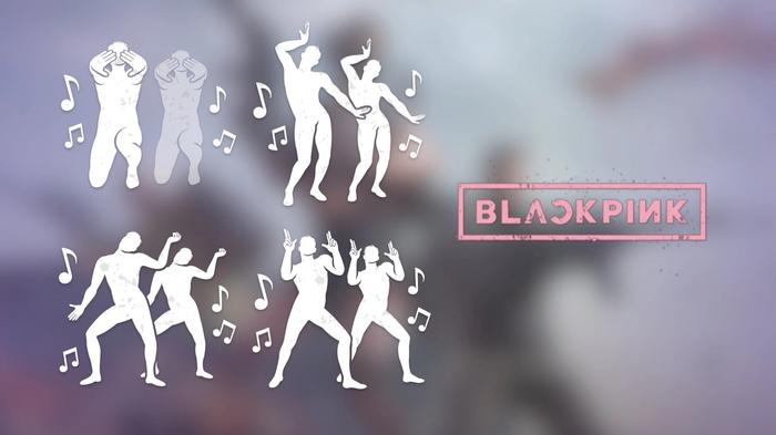 Image with humanoid dancing the emotes of BLACKPINK for PUBG Battlegrounds