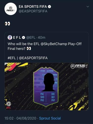 Play-Off Final Hero Tweet