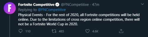 fwc cancellation 2020 fortnite world cup cancelled