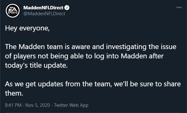 Madden 21 servers down november title update server status