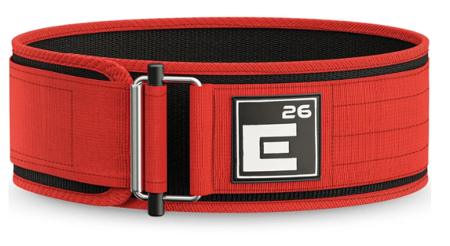 Best Weightlifting Belt Element 26 product image of red belt with self-locking buckle