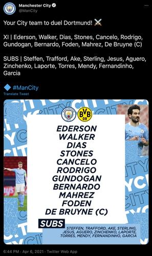 man city lineup vs dortmund ucl first leg