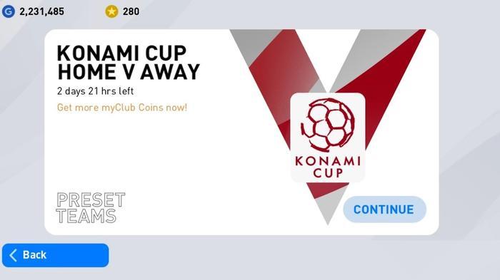 konami cup home vs away preset teams