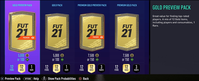 fifa 21 ultimate team preview packs store