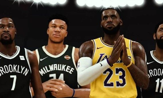 NBA players, Kevin Durant, Giannis Antetokounmpo, Lebron James, and Kyrie Irving stand together.