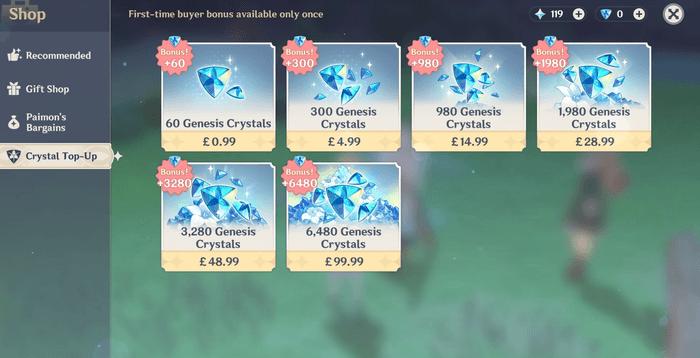 Genshin Impact Crystal Shop