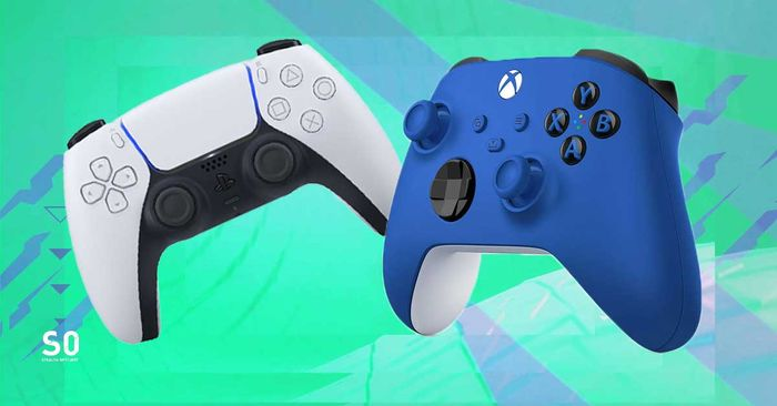 PS5 and xbox series x controllers shock blue accessories next gen