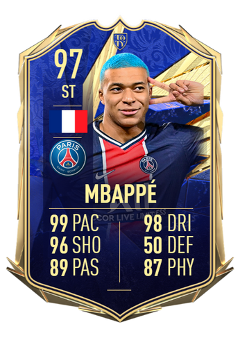 kylian mbappe fifa 21 ultimate team team of the year card