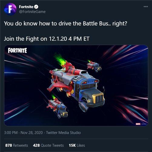 Fortnite Galactus Event Battle Bus Ride Tweet