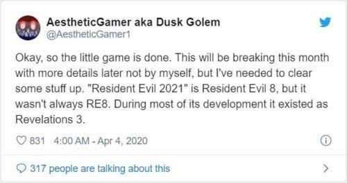 Tweet -  resident evil 8