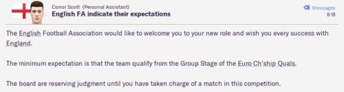England FM20 FA expectations