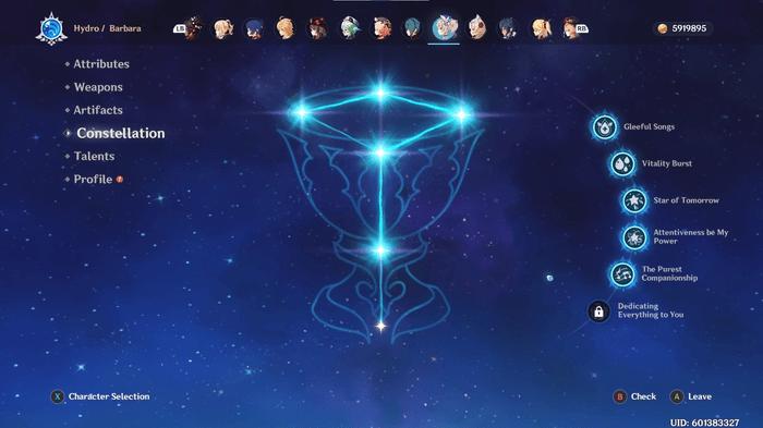Genshin Impact Barbara Constellations