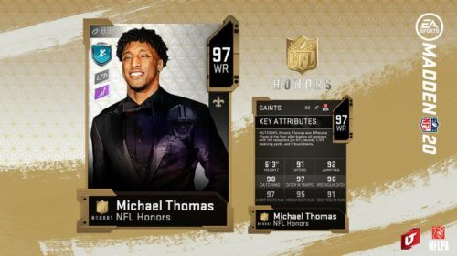 Michael Thomas' NFL Honors card in MUT
