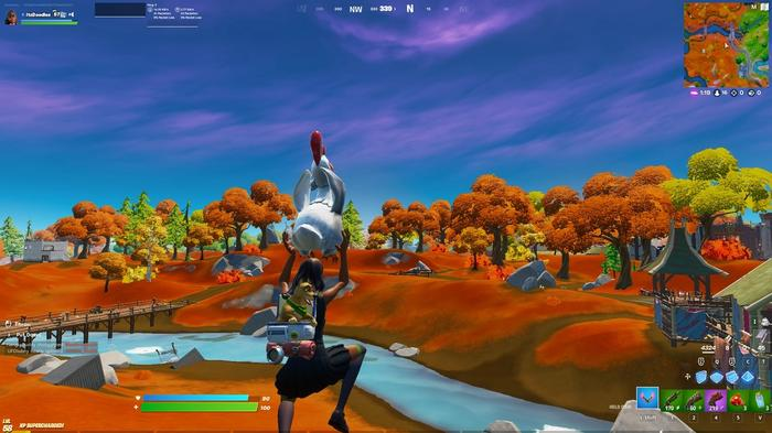 Fortnite Week 3 Fly with a chicken in game