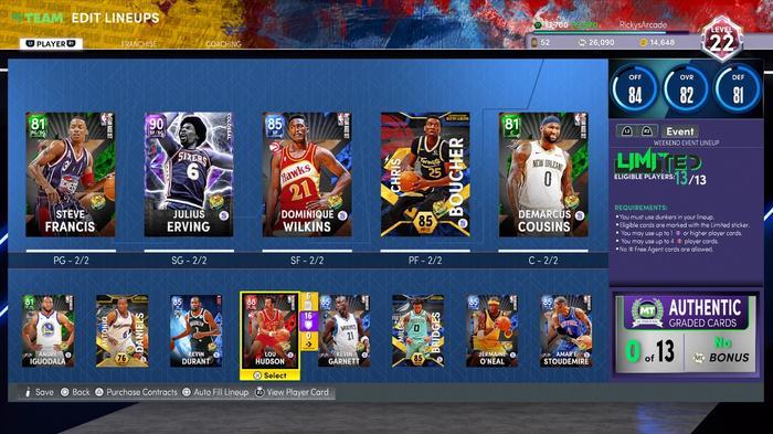 Lineup in NBA 2K22